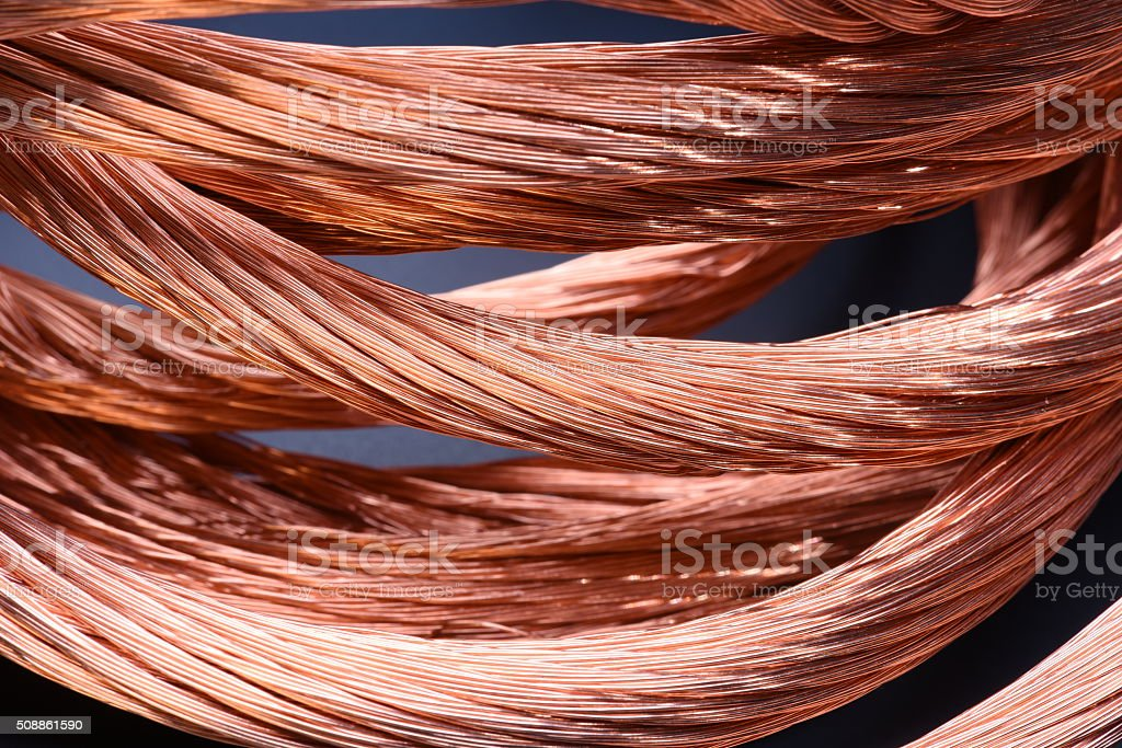 Closeup of copper wire, concept of industry development stock photo