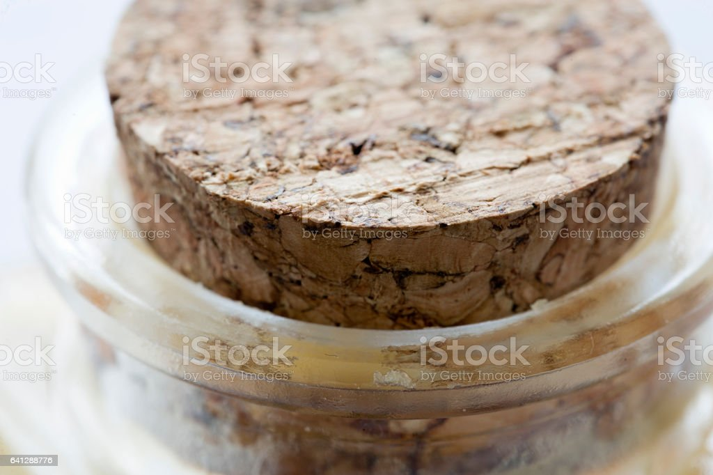 Close-up of cork capping a glass container. stock photo