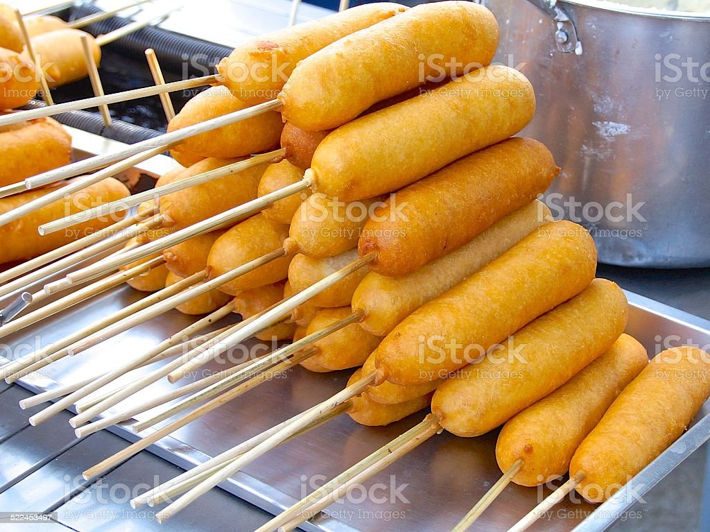 Closeup of corn dogs for sale stock photo