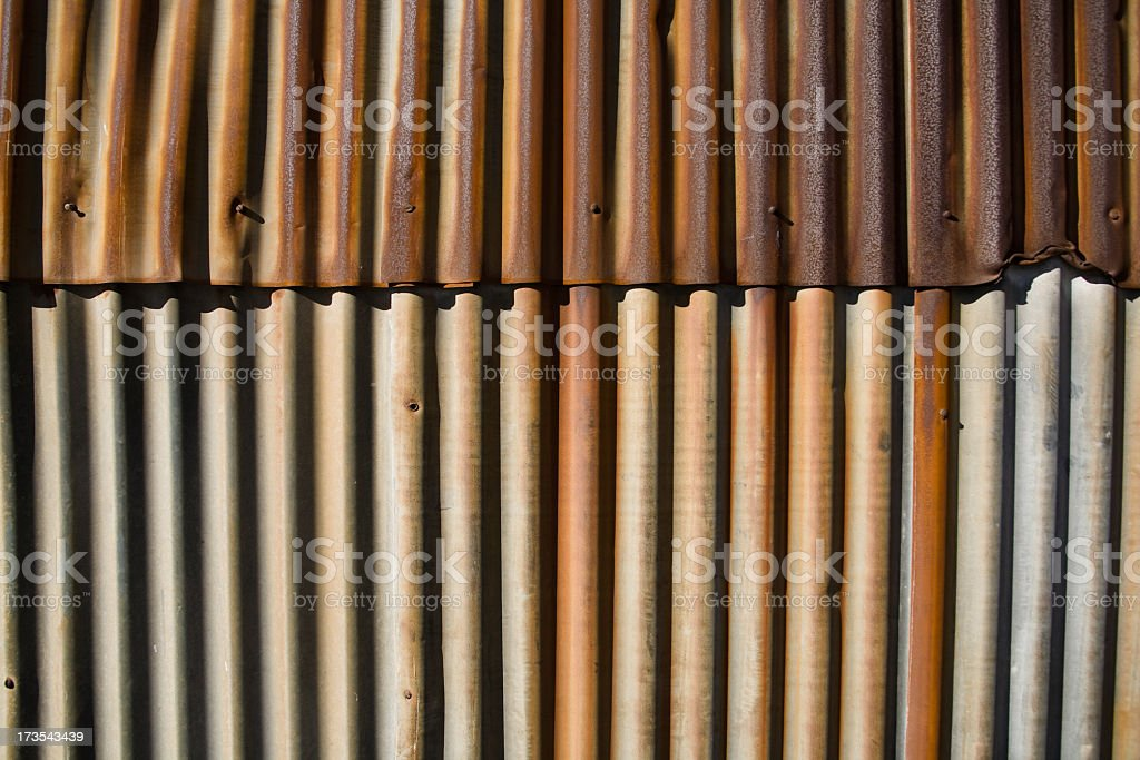 Closeup of Corrugated Metal Siding royalty-free stock photo