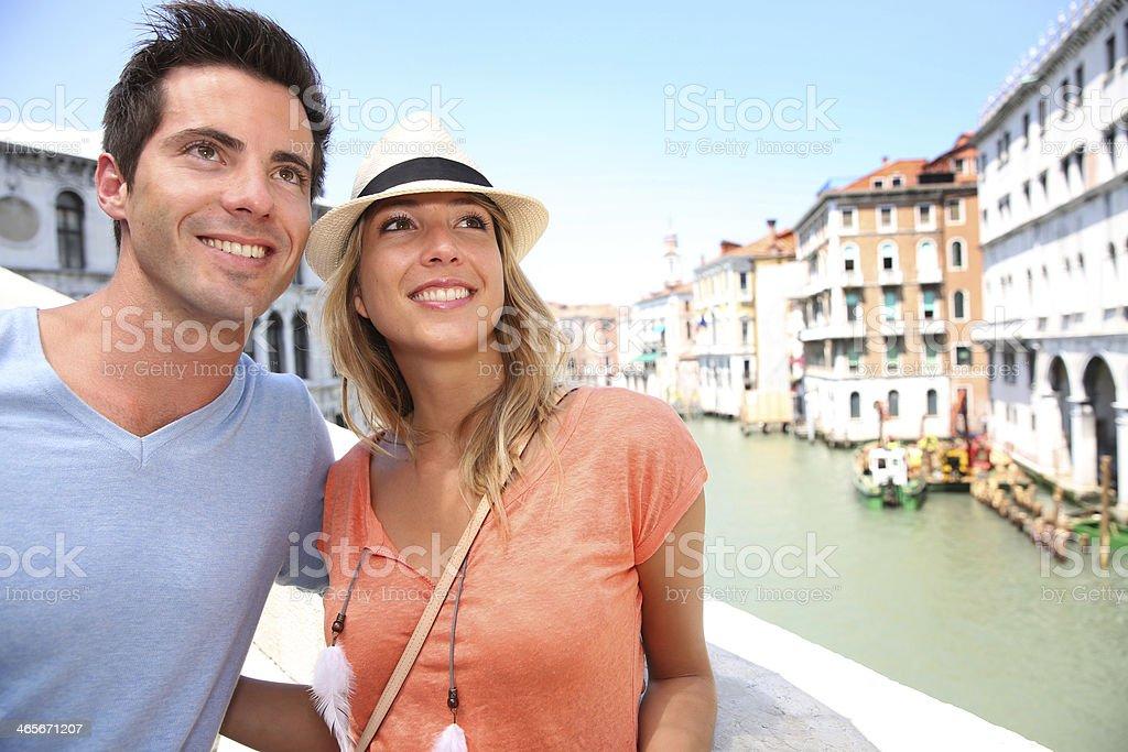 Closeup of couple on Rialto Bridge royalty-free stock photo