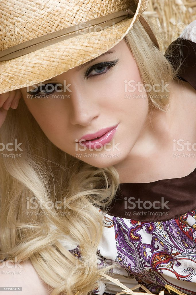 Closeup of Cowgirl royalty-free stock photo