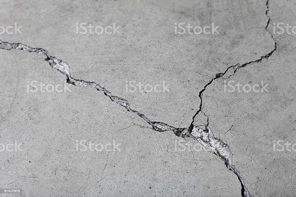 Closeup of Cracked Concrete Floor Surface stock photo