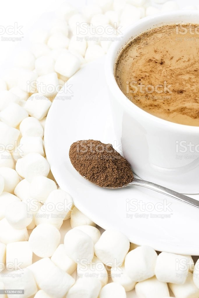 Closeup of cup hot chocolate with marshmallows royalty-free stock photo