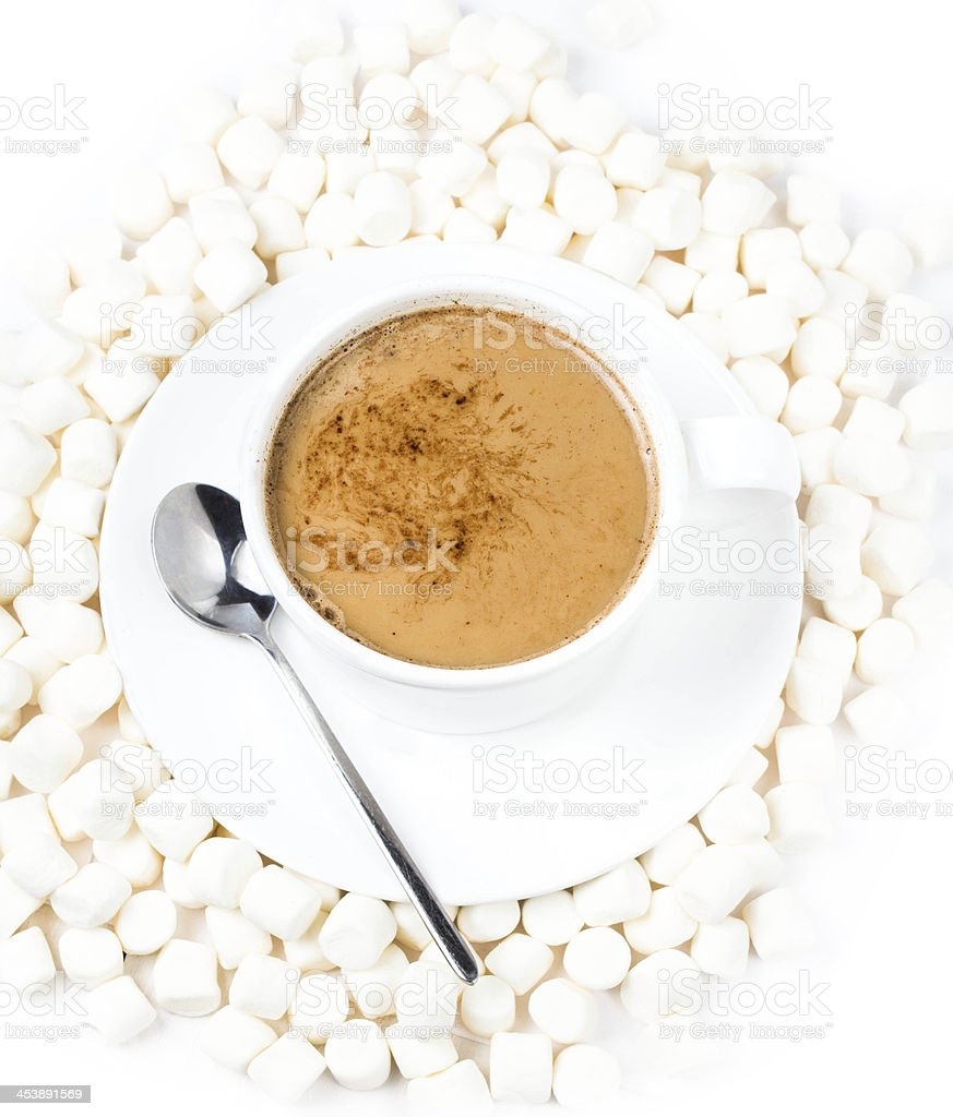 Closeup of cup  hot chocolate with small marshmallows royalty-free stock photo