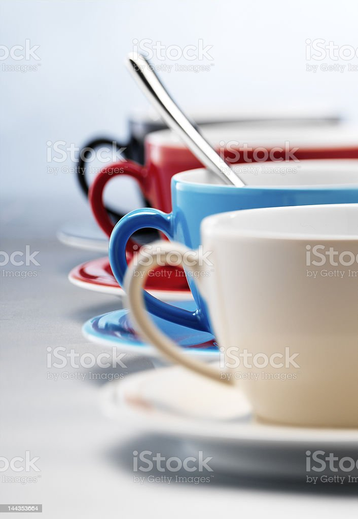 Close-up of cups in different colors royalty-free stock photo
