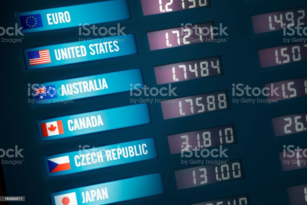 Close-up of currency exchange board stock photo