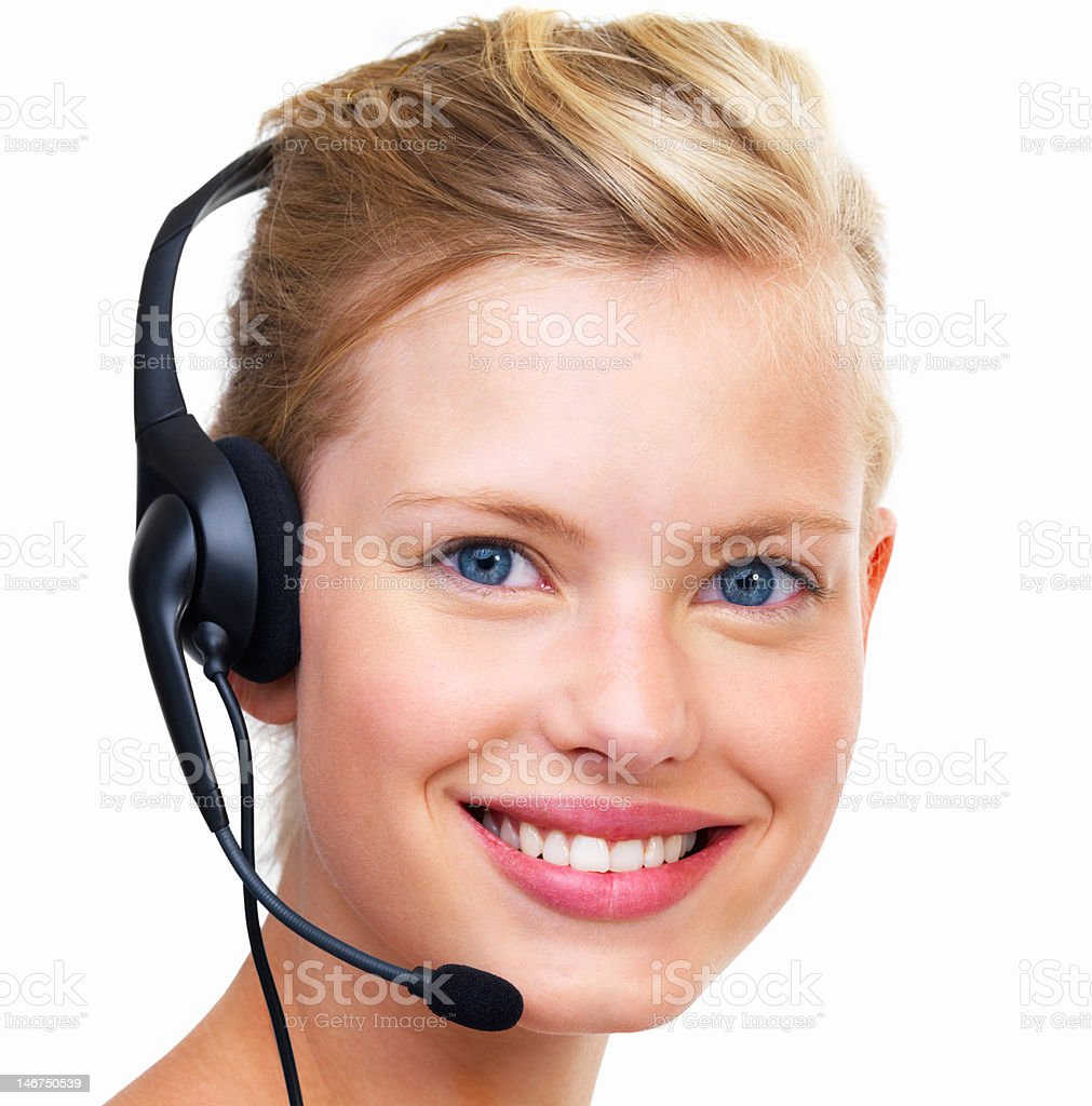 Close-up of customer service representative with headset on white background royalty-free stock photo