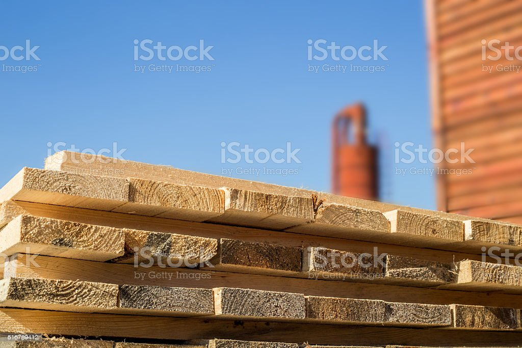 Closeup of cut wooden planks stock photo