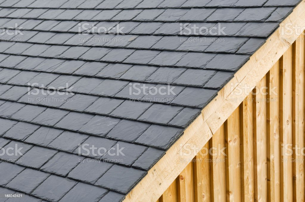Close-up of dark gray roof slates stock photo