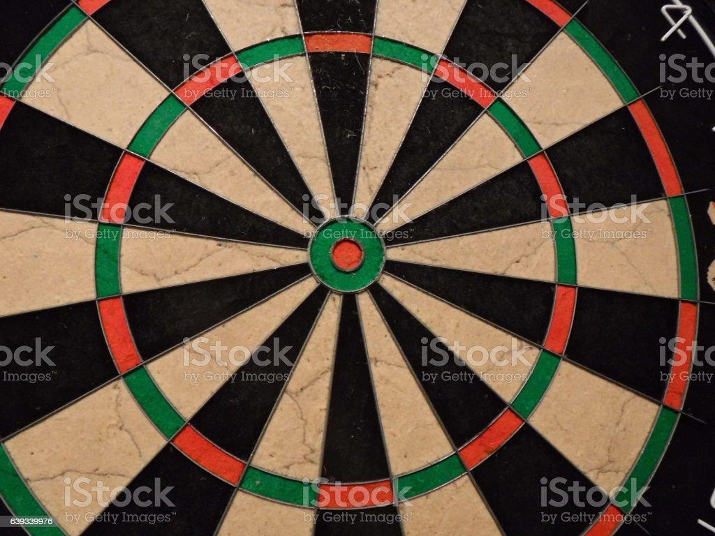 Close-up of dart board, no darts, centring on bulls eye stock photo