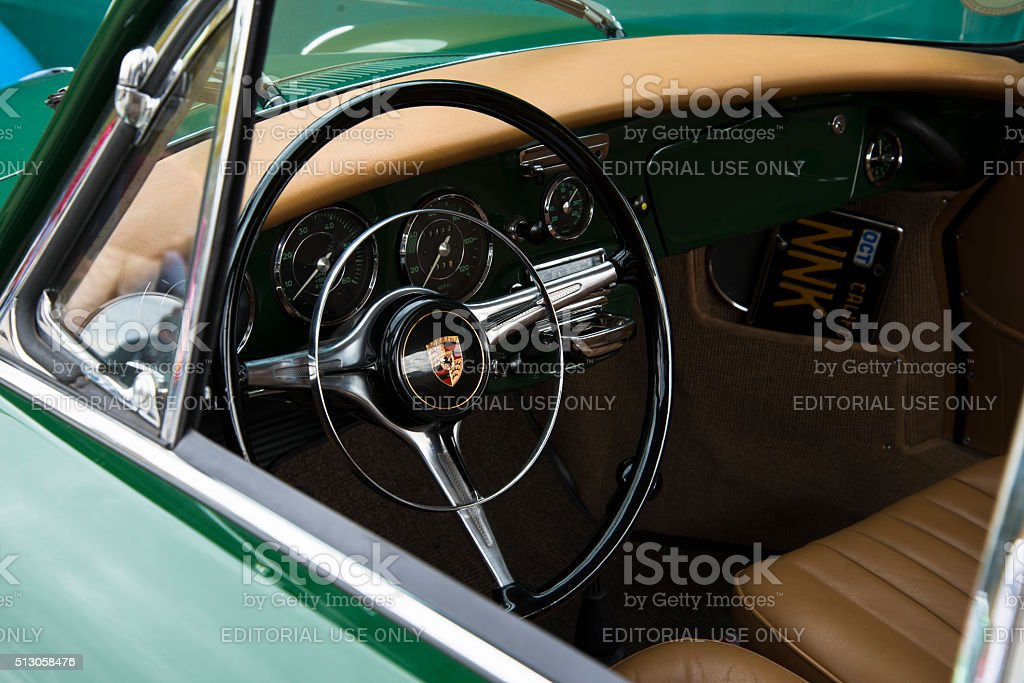 Close-Up of Dashboard of Vintage Green Porsche 356 stock photo