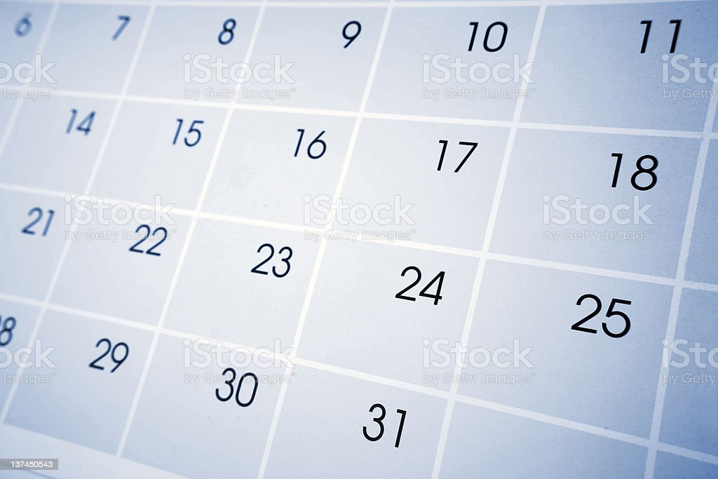 Close-up of dates on a calendar royalty-free stock photo