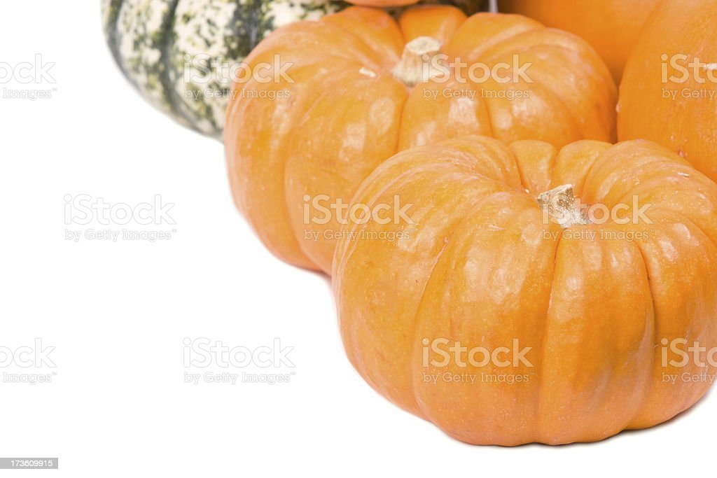 Closeup of decorative pumpkins stock photo