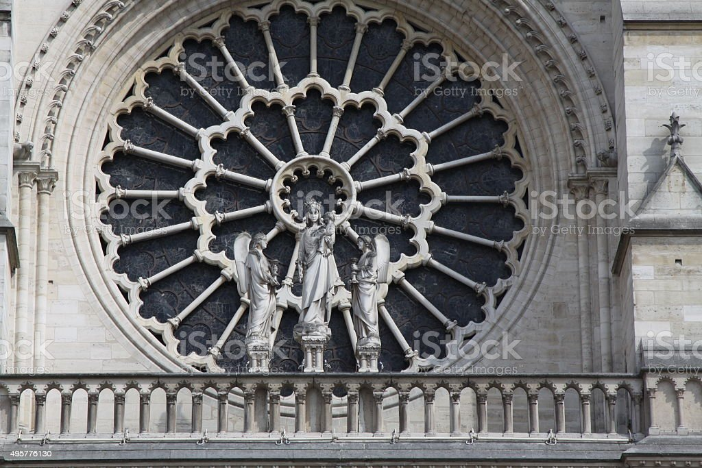 Close-up Of Decorative Window On Cathedral Notre Dame stock photo