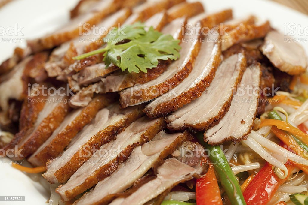 closeup of delicious grilled duck slices stock photo