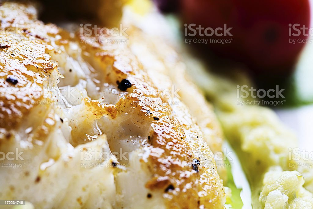 Close-up of delicious grilled fish dish in restaurant royalty-free stock photo
