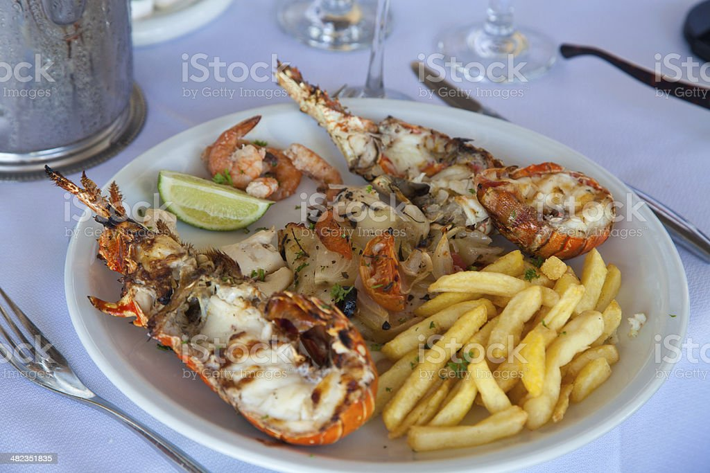 Closeup of delicious grilled lobster tails stock photo