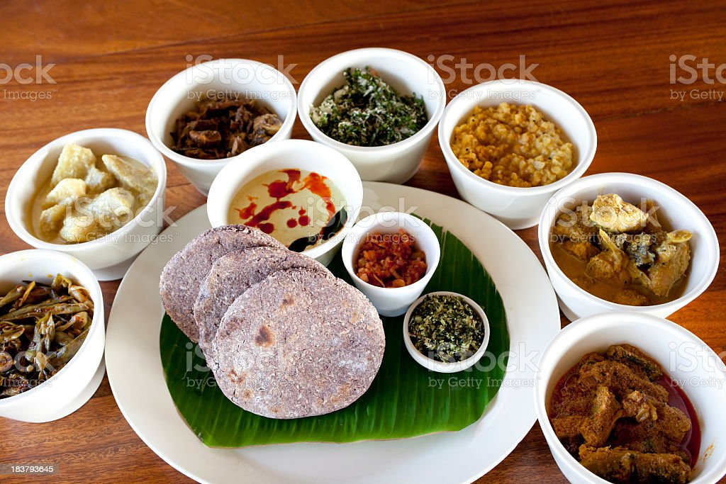 Close-up of delicious traditional Sri Lankan feast stock photo