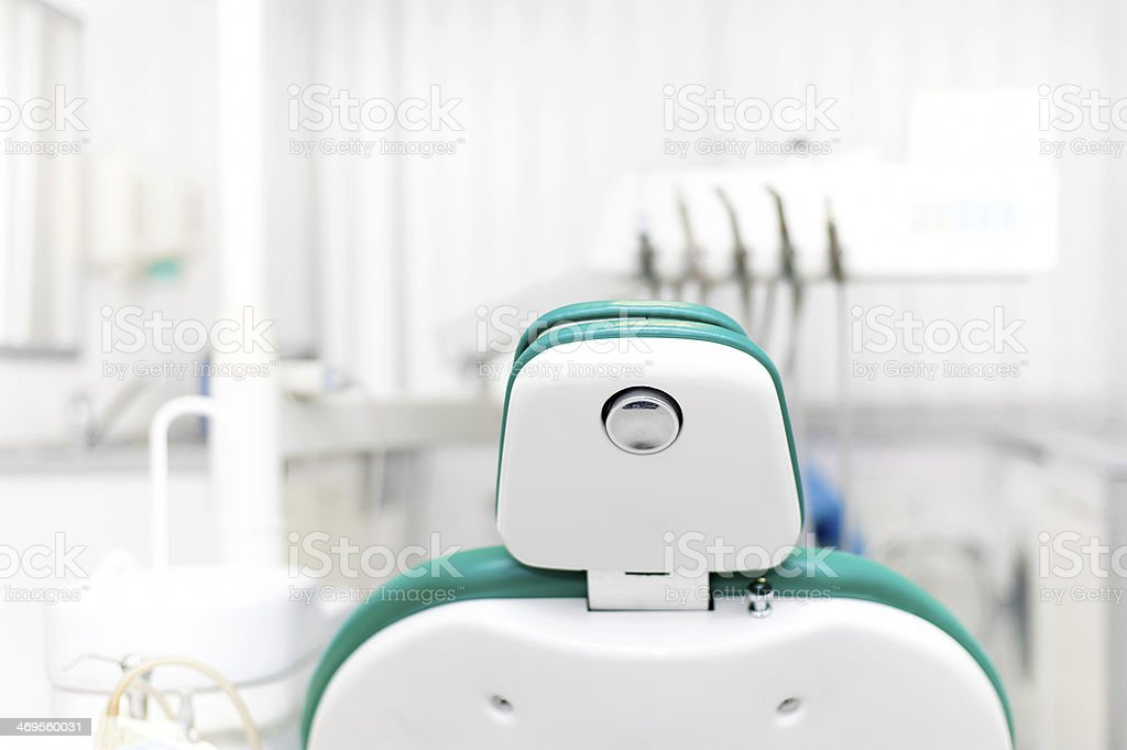 Close-up of dentist chair and tools stock photo