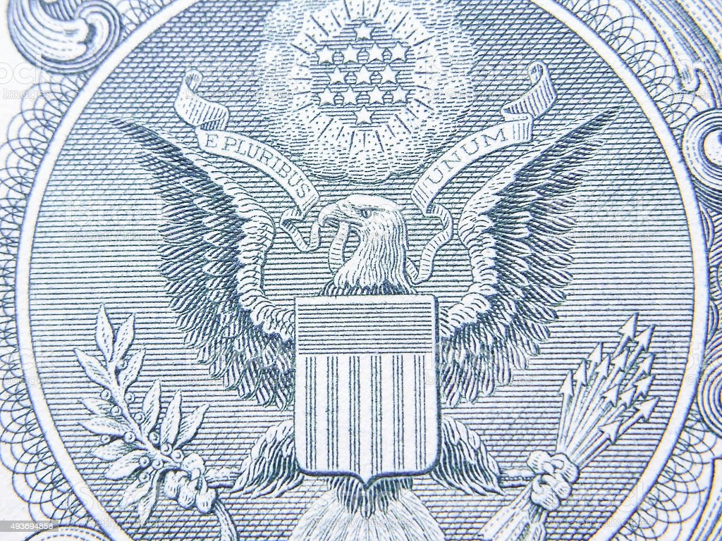 Closeup of Detail on the US $1 dollar stock photo