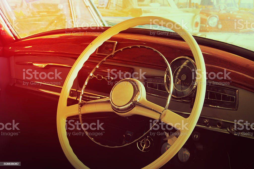 Close-up of details of Vintage Cars stock photo