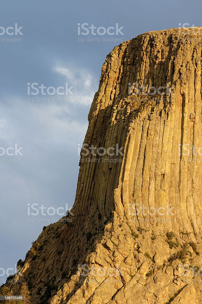 Close-up of Devils Tower at Sunrise stock photo
