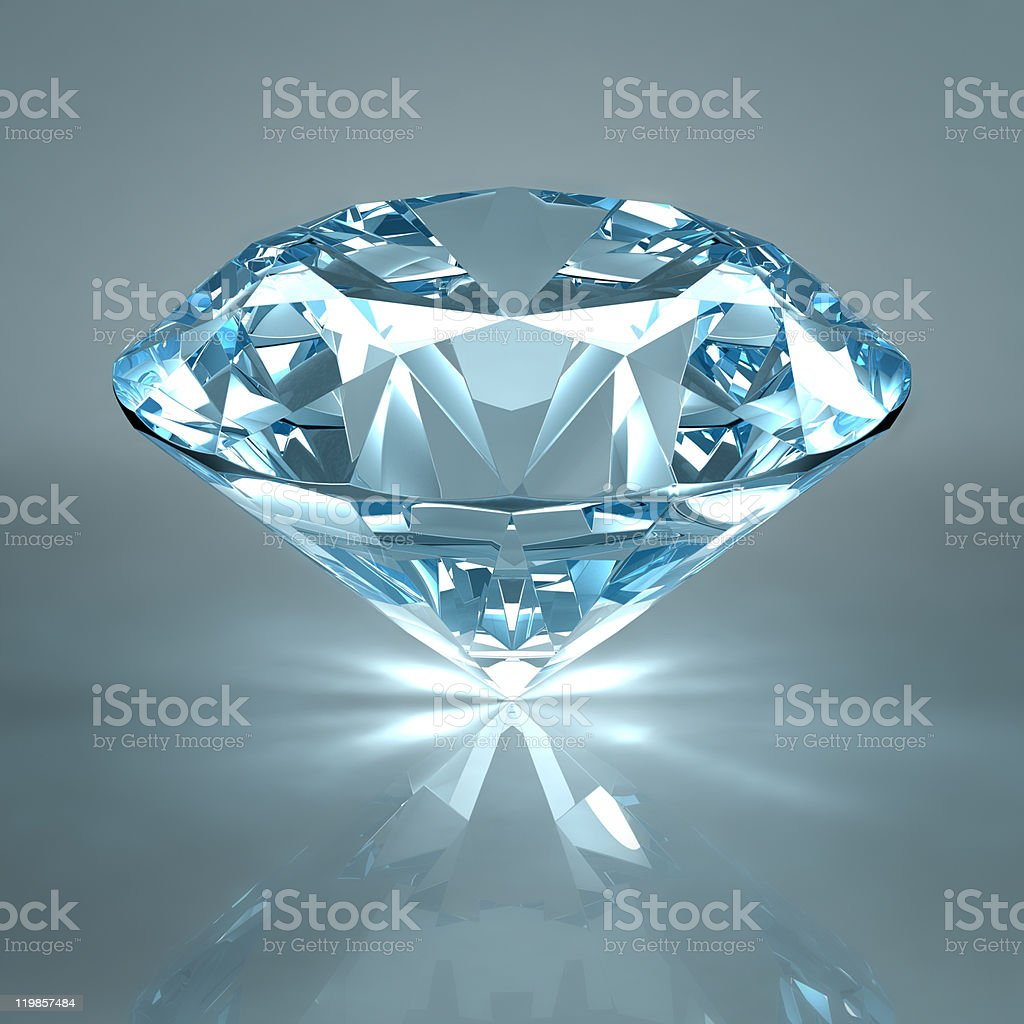 Close-up of diamond jewel against steel blue background royalty-free stock photo