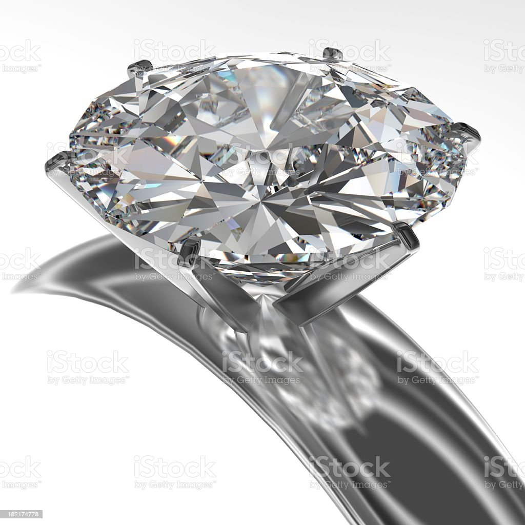 Close-up of diamond ring isolated on white background stock photo