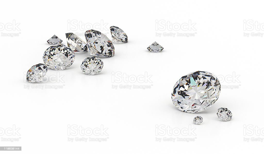 Close-up of diamonds on a white background stock photo