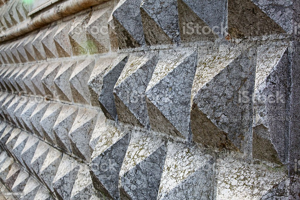 Close-up of Diamonds Palace facade (Palazzo dei Diamanti). Ferrara-Italy. stock photo