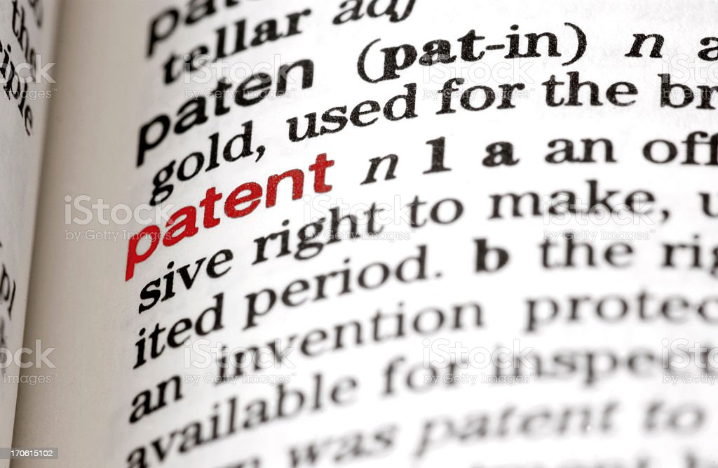 Close-up of dictionary definition of the word patent stock photo