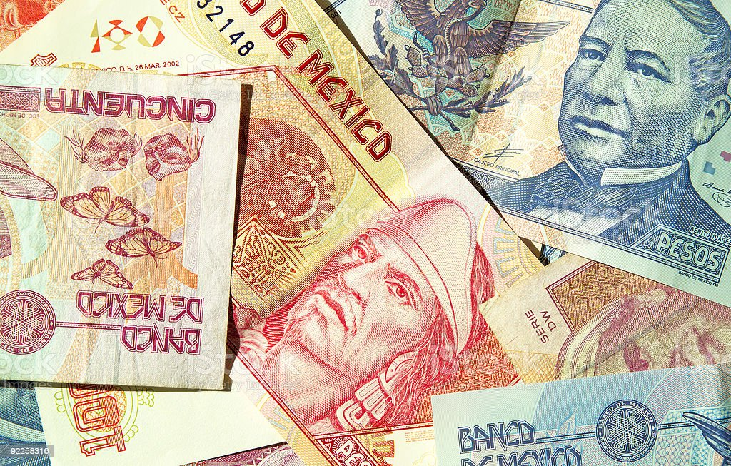 Close-up of different denominations of Mexican Pesos stock photo