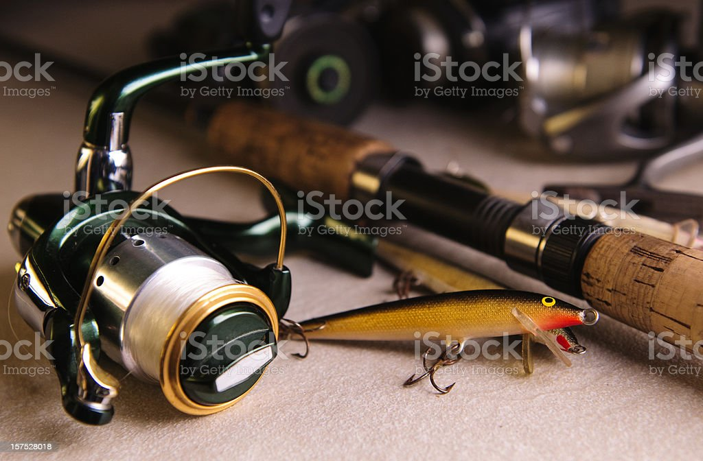 Close-up of different fishing tackle stock photo
