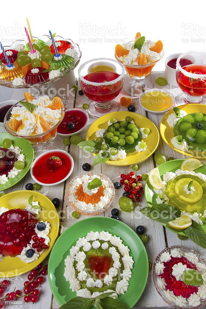Close-up of different kinds fruit jelly royalty-free stock photo