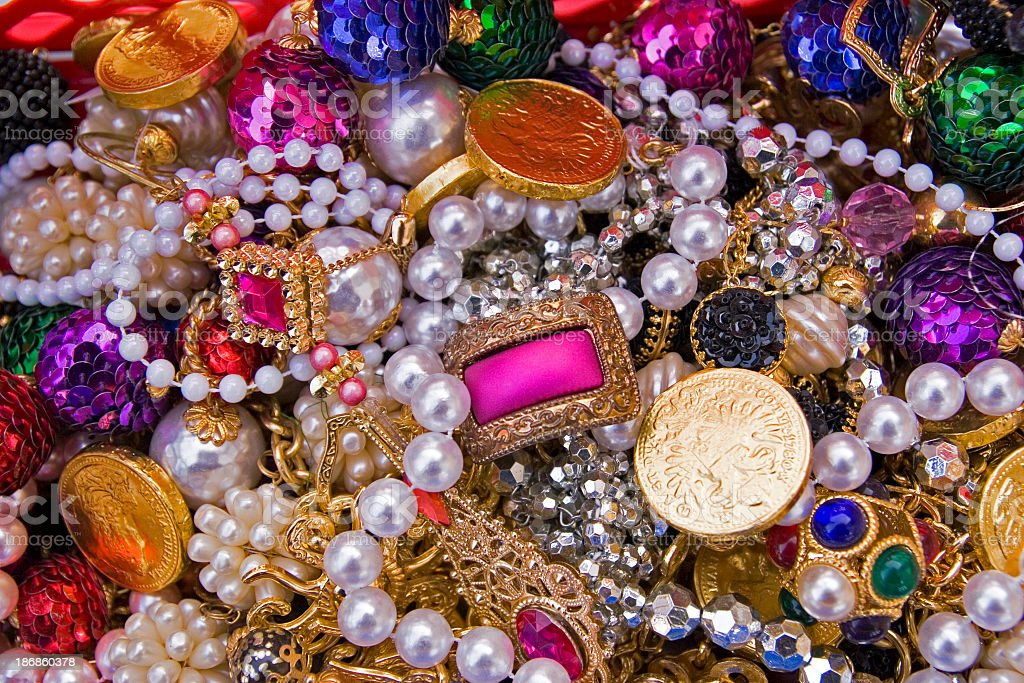 Close-up of different types of jewels stock photo