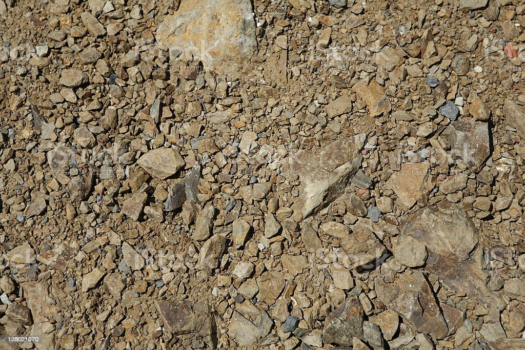 Close-up of dirt and rocks on the ground stock photo