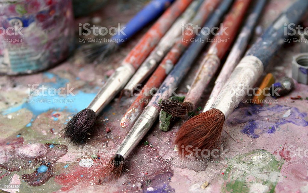 Closeup of dirty brushes stock photo