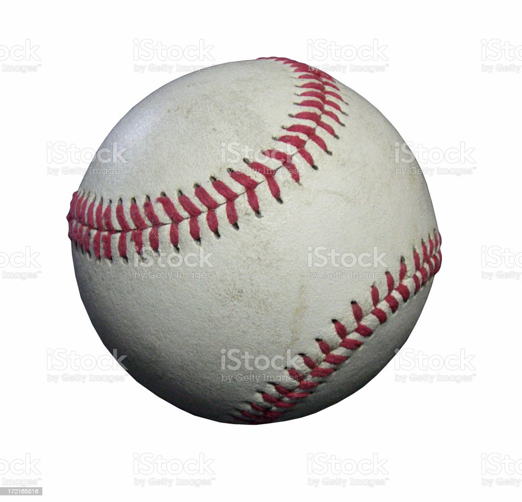 Close-up of dirty worn baseball isolated on white royalty-free stock photo