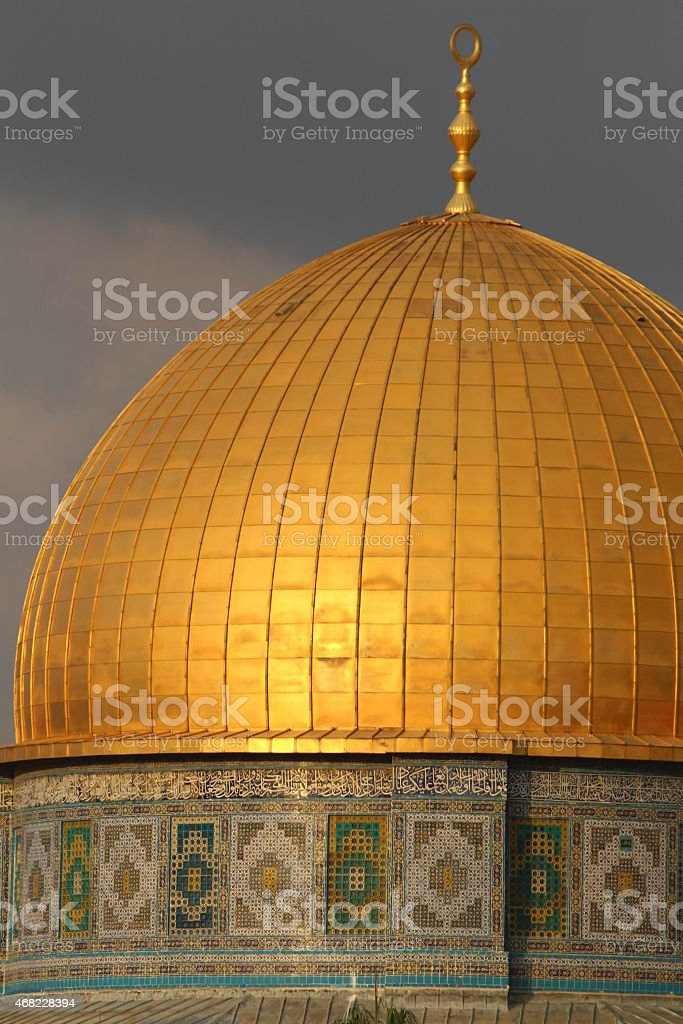 Closeup of Dome of the Rock stock photo