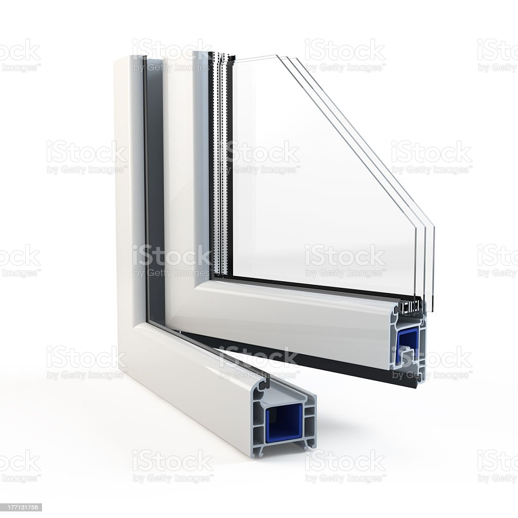 Close-up of double-layer window profile stock photo
