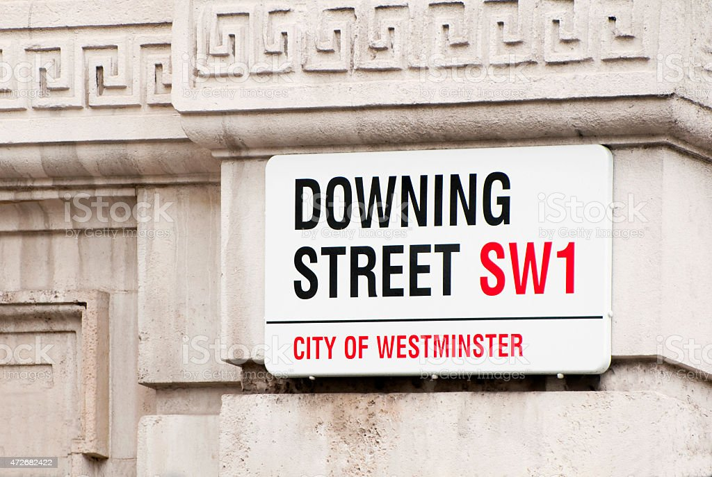 Close-up of Downing Street placard stock photo