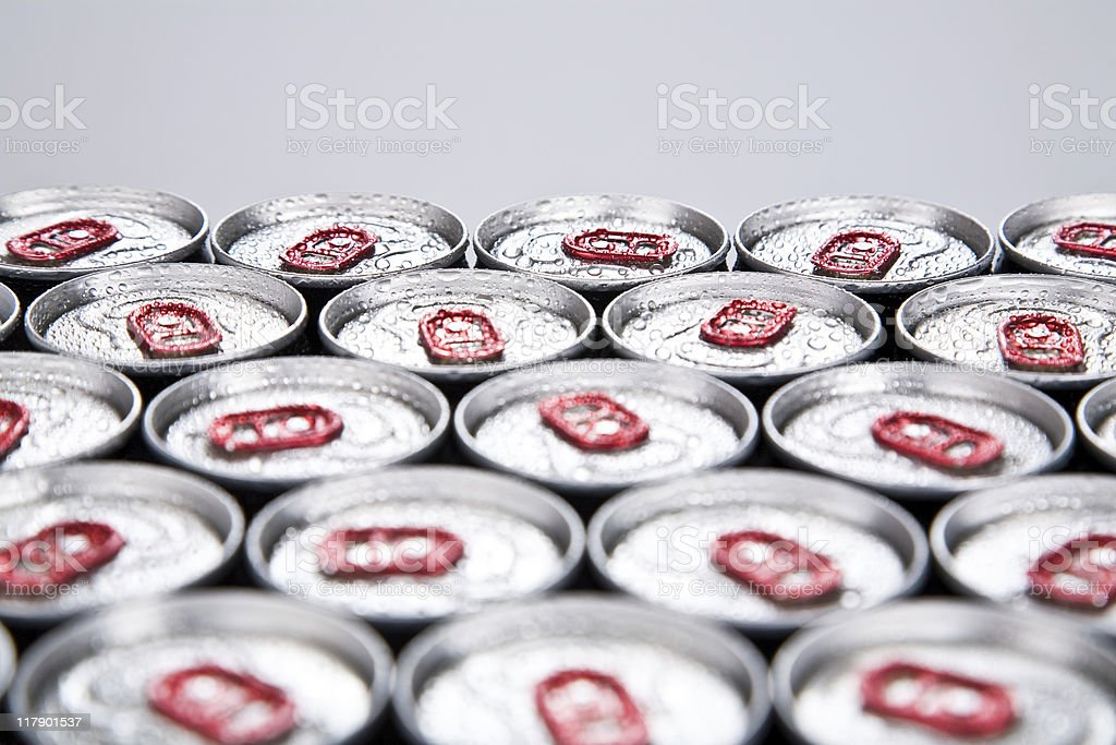Close-up of dozens of drink cans stock photo