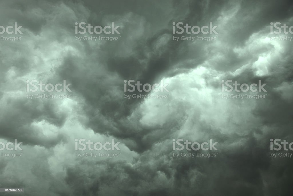 Close-up of dramatic dark storm clouds stock photo