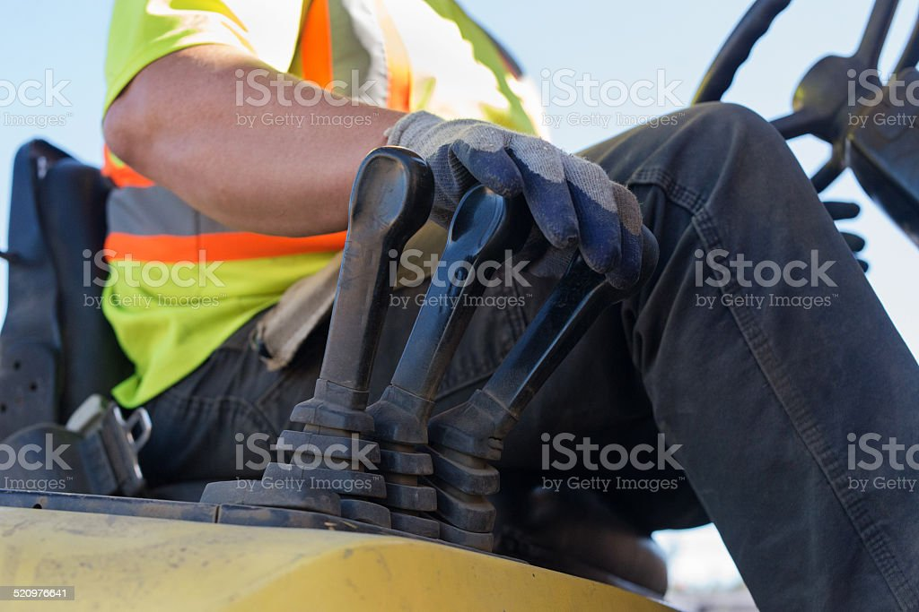 Close-up of driving forklift stock photo