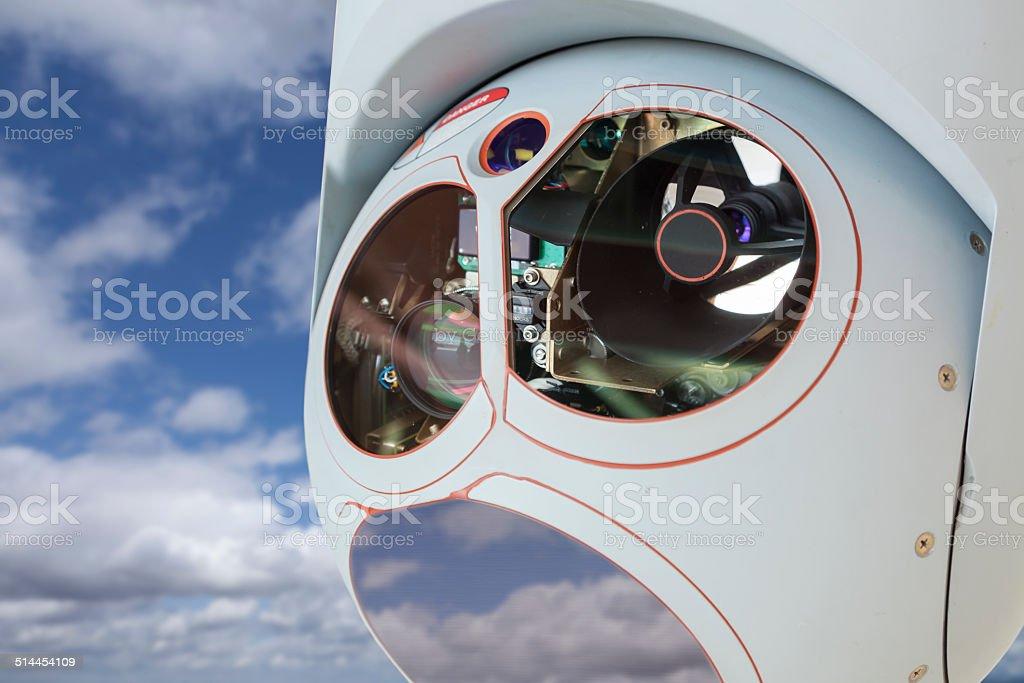 Closeup of Drone Camera and Sensor Pod Module stock photo