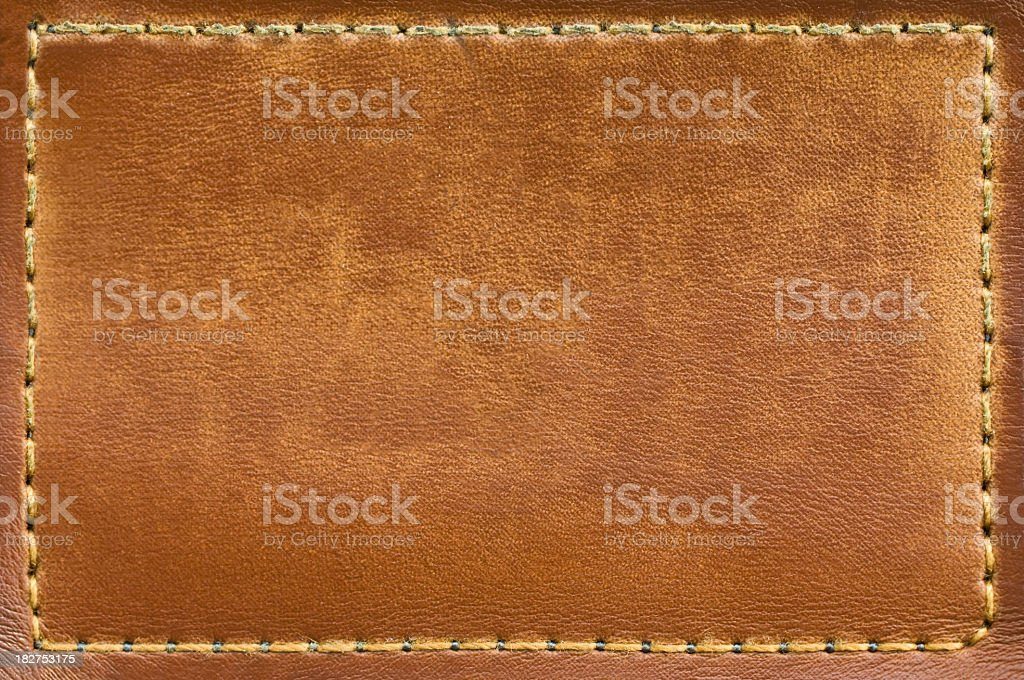 Closeup of dry leather jeans label  stock photo