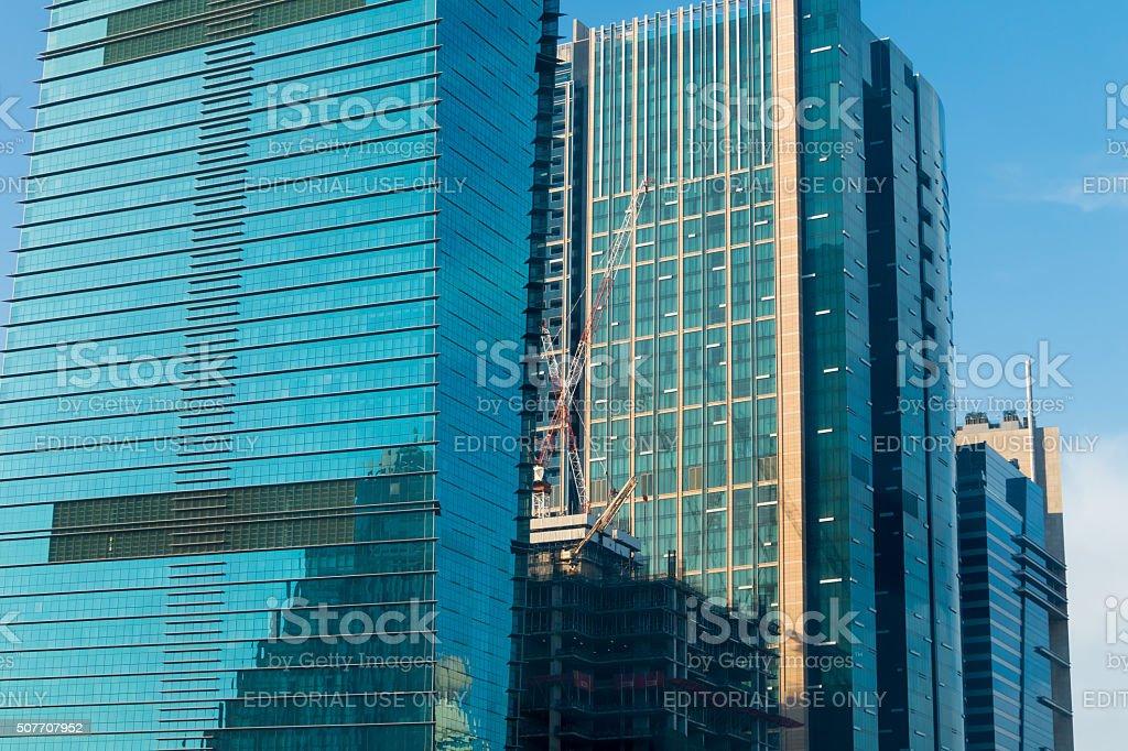 Close-up of Dubai Marina skyscrapers stock photo