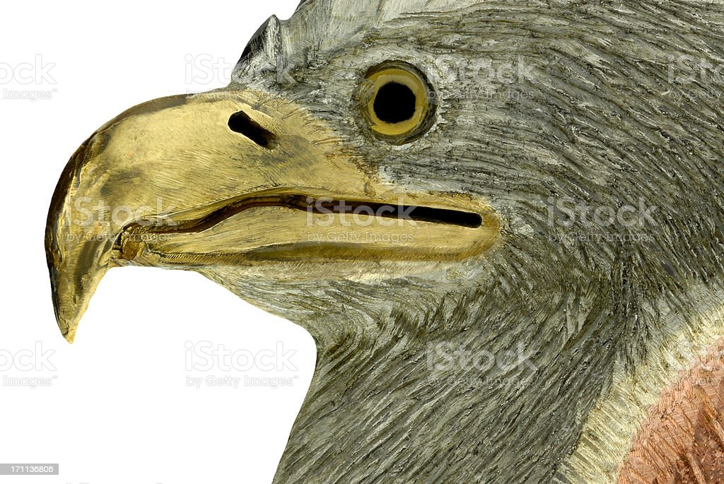 Close-up of Eagle Head Sculptured Metal Medallion royalty-free stock photo