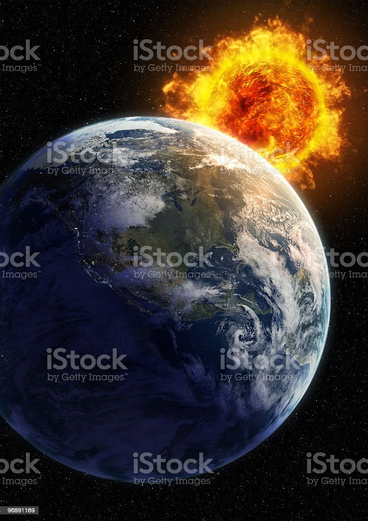 Close-up of earth getting hot from the burning sun stock photo